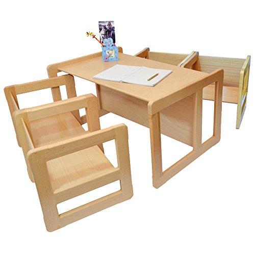 3 in 1 Multifunktionale Kindermöbel im Fünfer Set Bestehend Aus einem Multifunktionalen Kindertisch oder Kindersitzbank und vier Multifunktionale Kinderstühle oder ein Multifunktionales Nest von fünf Couch- Beistelltischen für Erwachsene, aus Massivem Buchenholz Natur Lackiert günstig bestellen