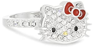 Hello Kitty Czech Crystals Flat Pave Face and Red Girl's Bow Ring, size 7 from Hello Kitty