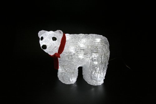3D LED Baby Polar Bear with Red Bow Sculpture 15cm Tall