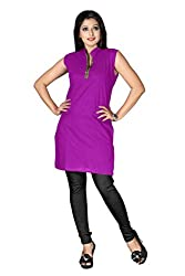 Shahlon Women's purple Crepe Kurti Fabric