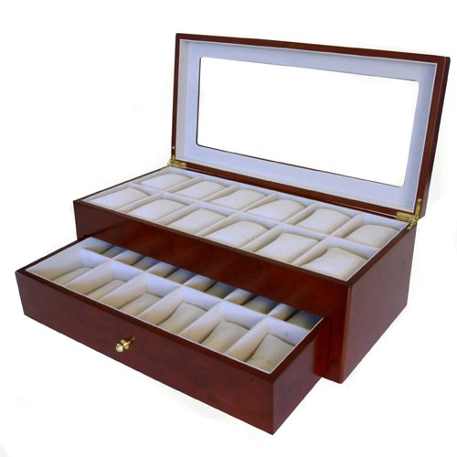 Tech Swiss Watch Box for 24 Watches Burlwood Matte Finish XL Wide Compartments Soft Cushions Clearance Large Watches Window