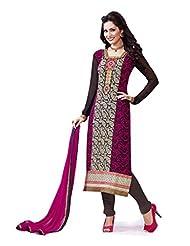 B3Fashion Designer Paty Wear Semi Stitched Bi Shaded Majenta Pink & Black Georgette Salwar Suit With Schiffli...