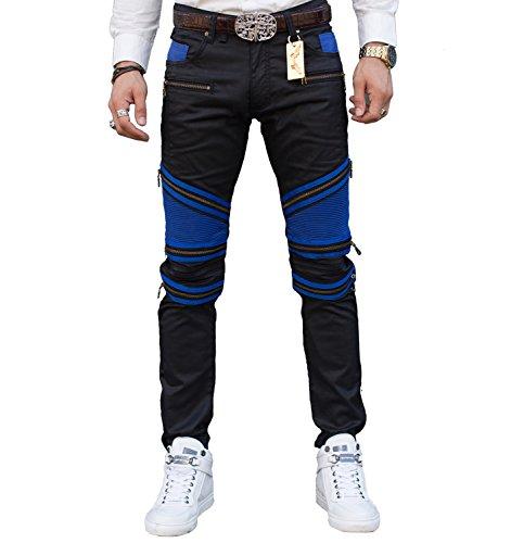Pantaloni degli uomini Denim pista diritta Biker Jeans classico Slim blue 40