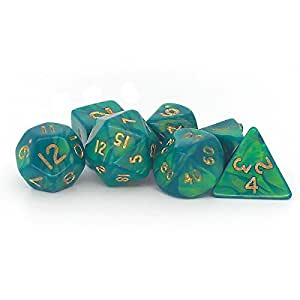 Dice and Games Lot de 7 mini-dés polyèdre D4 D6 D8 D10 D12 D20 D00 Vert nacré