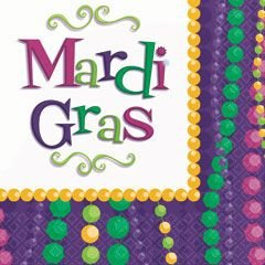 Amscam Mardi Gras Celebration Lunch Napkins, Multicolor