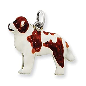 Sterling Silver Enameled Saint Bernard Charm