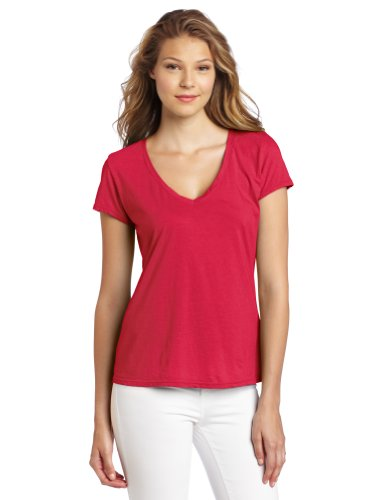 Michael Stars Women's Short Sleeve Fitted V-Neck Shirt, Watermelon, One Size