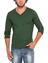 PepperClub Men's Cotton Henley Full Sleeve T-shirt - Bottle Green
