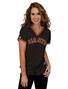 MLB Ladies San Francisco Giants Tim Lincecum Black Short Sleeve 5 Button Synthetic... by Majestic