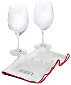 Riedel Vinum Set of 2 Bordeaux Glasses with Bonus Microfiber Polishing Cloth by Riedel