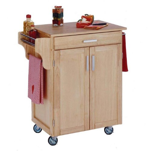 Cheap Home Styles 9001-0011 Natural Kitchen Cart with Wood Top (9001-0011)