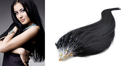 "Hairqueen 18"" Best-Selling 100S Real Loop Micro 100 % Remy Human Straight Hair Extensions,50G #1Black"