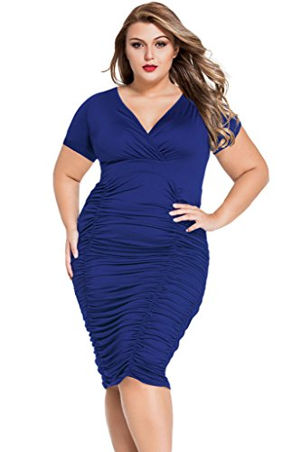 FIYOTE Women V-Neck Casual Vintage Ruched Waist Cocktail Party Dress (XL, Blue) (Dress Form Xl Adjustable compare prices)