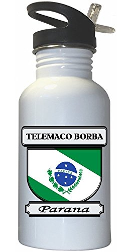 Telemaco Borba, Parana City White Stainless Steel Water Bottle Straw Top (Borba Water compare prices)