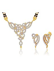 "MGold Valentine 18 Karat Gold Plated Cubic Zirconia ""Garima"" Mangalsutra Earrings Set"