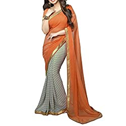 Morpankh enterprise Orange Georgette Saree ( asha orenge saree )