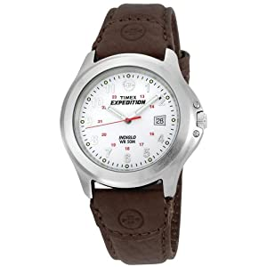 eb33a2af5 Buy Timex Men's Expedition Full Size Brown Leather Strap Watch - T44381 at  £25.33 from