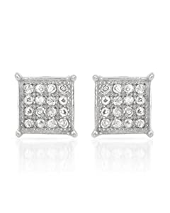 Genuine Morne Rouge (TM) Earrings. 0.23 Ctw I2 Color G-H Diamonds Sterling Silver Earrings. 0.9 Grams in Weight and 5 mm in Length. 100% Satisfaction Guaranteed.