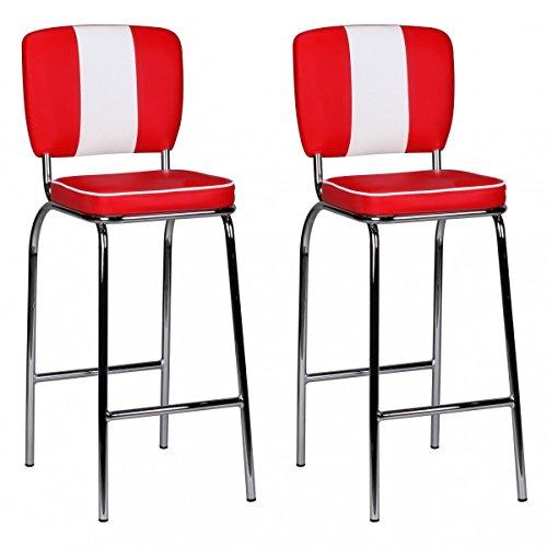 2er-Set-FineBuy-Barstuhl-American-Diner-50er-Jahre-Retro-Rot-Wei