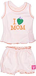 Amy Baby Girls' Dress (127_2_0-3 Months, Peach, 0-3 Months) - Special Offer with Free Delivery - 100% Cotton Exclusive Kidswear
