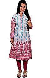 Mrignayaneei Women Cotton Semi -Stitched Kurti(K21_White & Pink)
