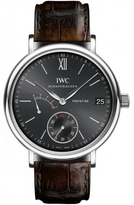 IWC Portofino Hand-Wound Eight Days Automatic Black Dial Mens Watch 5101-02