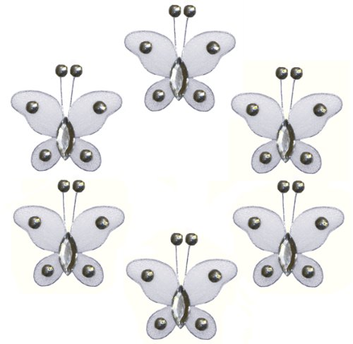 "Butterfly Decor 2"" White Mini (X-Small) Bead Butterflies 6Pc Set. Decorate For A Baby Nursery Bedroom, Girls Room Ceiling Wall Decor, Wedding Birthday Party, Bridal Baby Shower, Bathroom. Decoration For Crafts, Scrapbooks, Invitations, Parties"