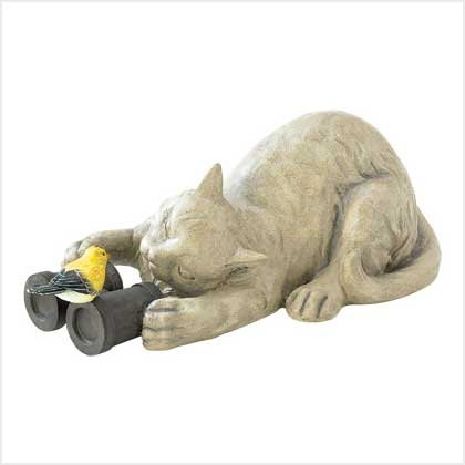 Birdwatching Cat Garden Statue