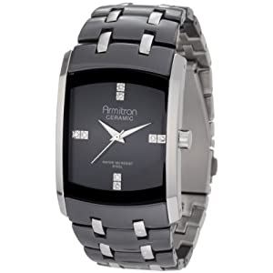 Armitron Men's 20/4792BKSV Swarovski Crystal Accented Ceramic and Stainless-Steel Bracelet Watch