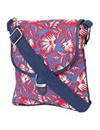 Pick Pocket Navy Blue Canvas PU Sling Bag
