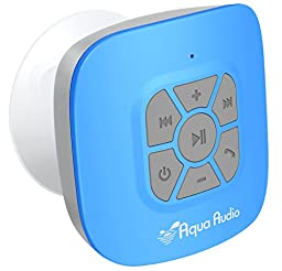 AquaAudio8482; Cubo - Portable Waterproof Bluetooth Speaker with Suction Cup for Showers, Car, etc. - Pairs with All Bluetooth Devices + Siri Compatible - 10 hours Playtime/ Built-in Mic (Blue)
