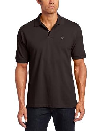 IZOD Men's Short Sleeve Basic Heritage Pique Polo, Black, X-Small