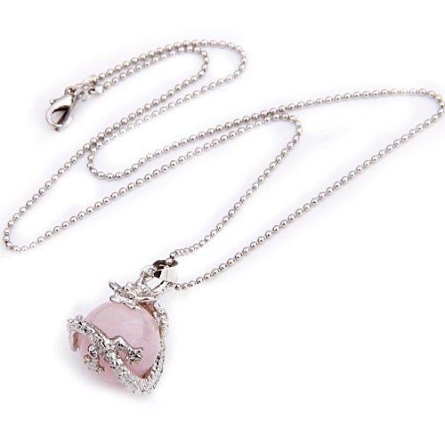 Round Pink Rose Quartz Dragon Pendant Necklace 0.63