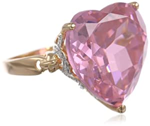 10k Gold Plated Sterling Silver Heart-Shaped Pink Cubic Zirconia Ring, Size 8