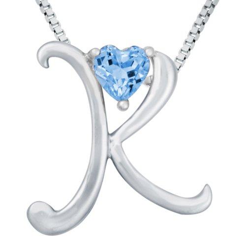 "Sterling Silver Sky Blue Topaz Letter ""K"" Pendant,18"""