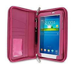 rooCASE Samsung Galaxy Tab 3 7.0 Case - Executive Portfolio Leather Case - MAGENTA