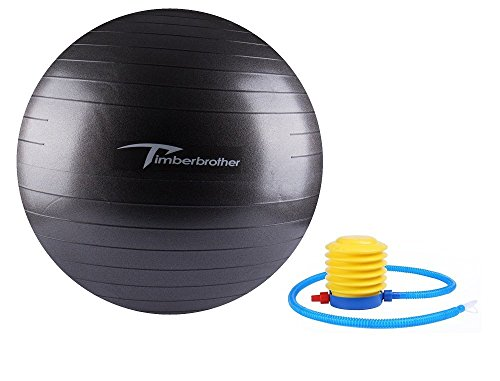 Timberbrother Exercise Stability Ball / Fitness Ball / Balance Ball with Pump (Black, 65cm)