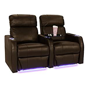 Seatcraft sienna brown leather home theater seating row of 2 seats power recline Home theater furniture amazon