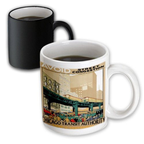 Mug_163585_3 Florene Vintage Transportation Posters - Image Of Elevated Trains With Cars In Chicago - Mugs - 11Oz Magic Transforming Mug