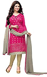 Fashions World Fancy Pink Chanderi Dress Material