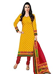 DARPAN TEXTILES Ethnicwear Women's Dress Material YELLOW_Free Size