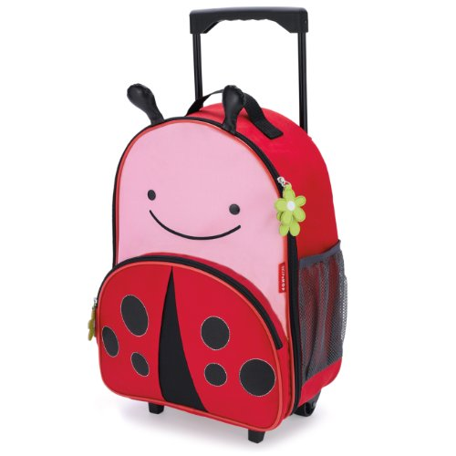 Skip Hop Zoo Little Kid & Toddler Travel Rolling Luggage Backpack (Ages 3+), Multi, Livie Ladybug