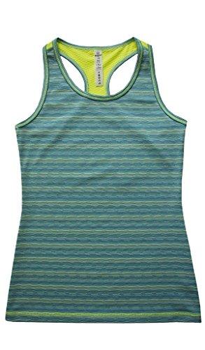 90 Degree by Reflex Kids - Girls Textured Zig Zag Tank Tops - Junior Activewear - Jade Combo Medium (10)