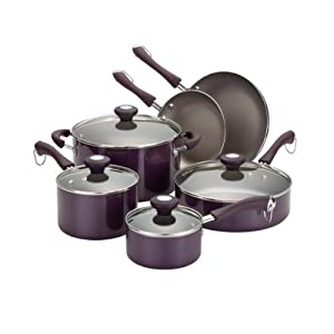 Paula deen traditional porcelain 10 piece cookware set for Kitchen set in amazon