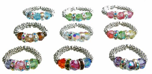 Swarovski Crystal and Sterling Silver Stretch Rings accented with Swarovski Crystal Rondelles