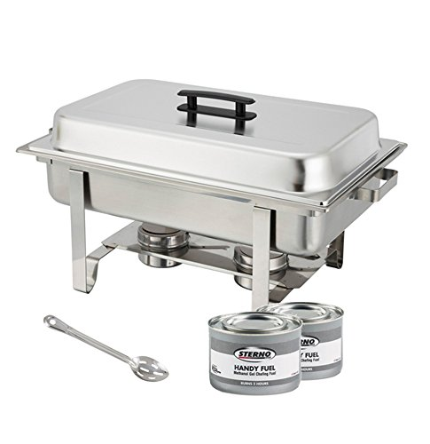 Winware Stainless Steel Full Size Chafer, 8 Quart Chafing Dish Set with 2 Chafing Dish 2h Methanol Gel Fuels and 15-Inch Stainless Steel Slotted Serving Spoon