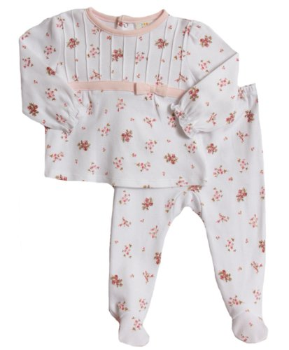 Absorba Baby-Girls Newborn Floral 2 Piece Footed Pant Set, White / Print, 3-6 Months front-917375