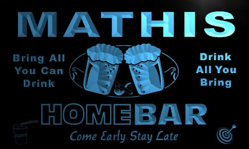 ADV PRO p1483-b MATHIS Home Bar Beer Family Last Name Neon Light Sign