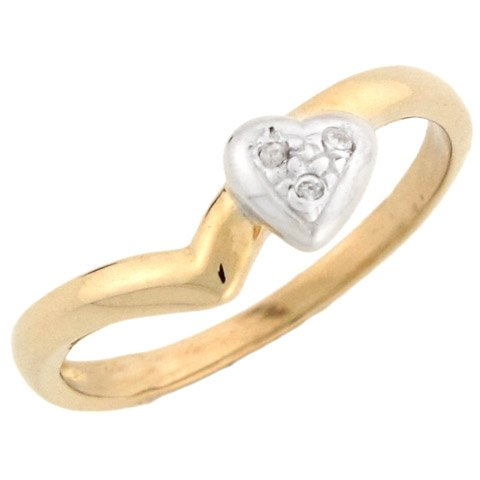 14k Two-tone Yellow and White Gold Unique Diamond Heart Promise Ring
