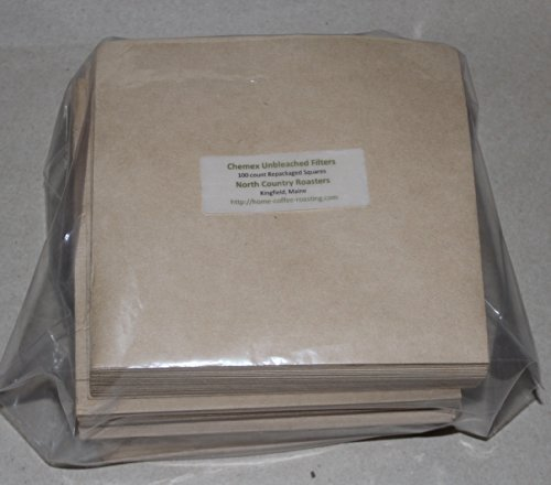 Chemex Bonded Unbleached Pre-Folded Square Coffee Filters, 100 Count Home & Kitchen front-489628